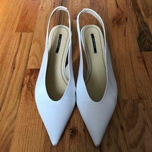 Zara White Leather Slingback Heel Sandal - 40/9